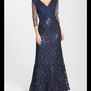 Tadashi Shoji Navy Blue Sequin Formal Gown 10P
